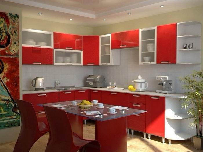 бело-красная кухня под заказ