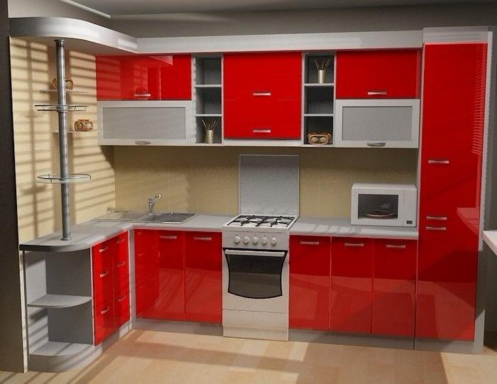 Красная угловая кухня маленькая под заказ