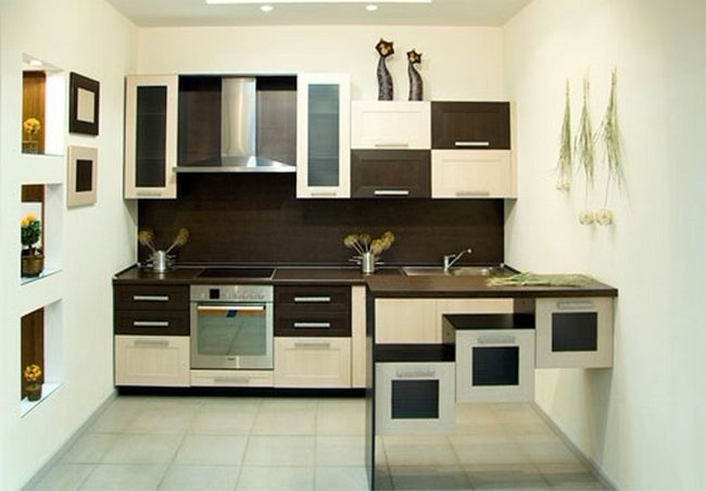 коричневая белая кухня на заказ в минске