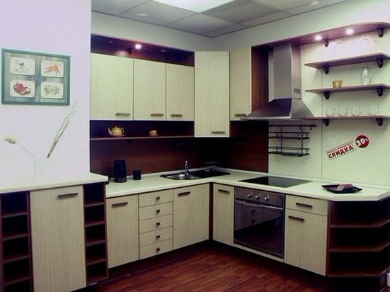 угловая кухня светлое и темное дерево на заказ