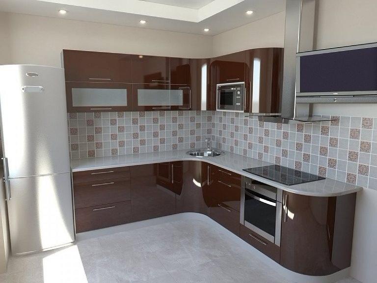 Кухня из пластика коричневая