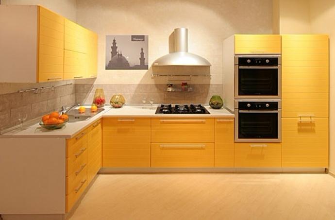 Кухня из пластика желтая угловая на заказ