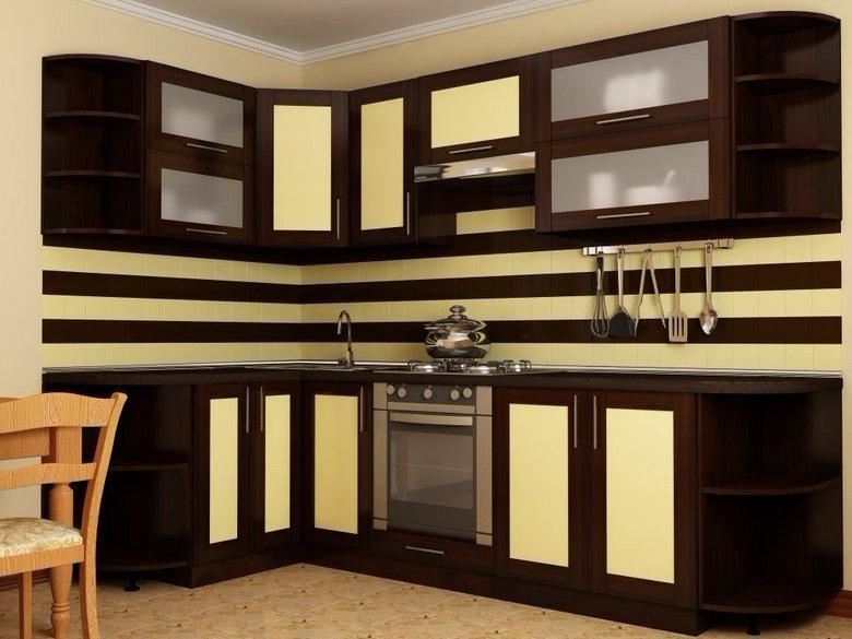 угловая кухня цвет венге и желтый