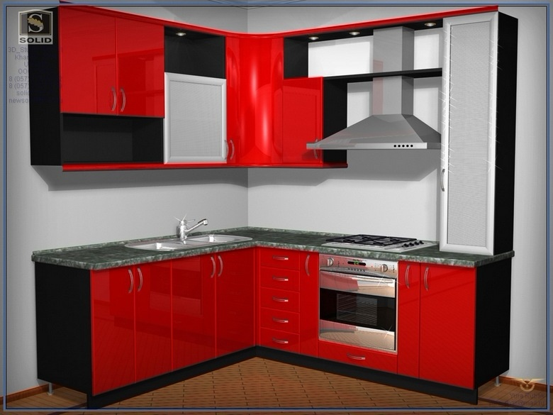 маленькая угловая кухня красная на заказ