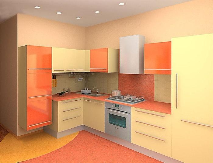 маленькая угловая кухня с подвесными шкафчиками - крашенный МДФ