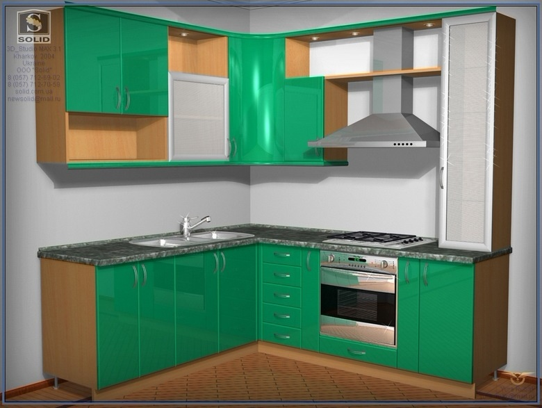 Маленькая угловая зеленая кухня на заказ