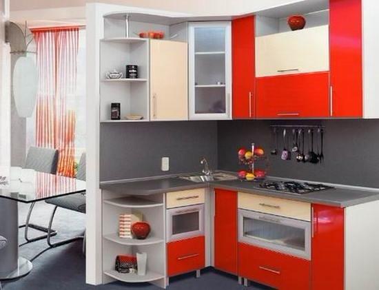 угловая красно-белая кухня на заказ