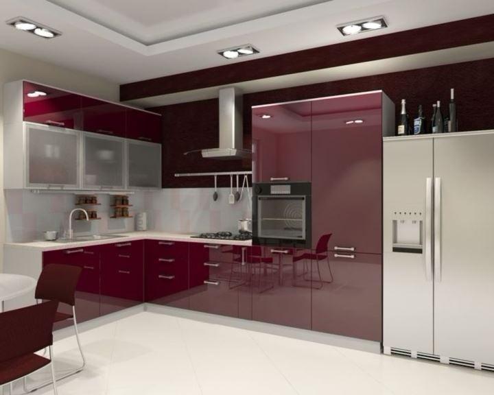фиолетовая кухня из пластика на заказ