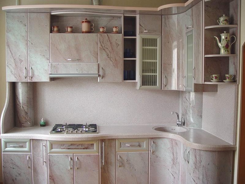 Кухня из пластика бело-розовая фото 3