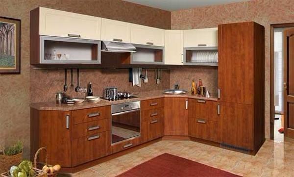 угловая кухня из массива дуба