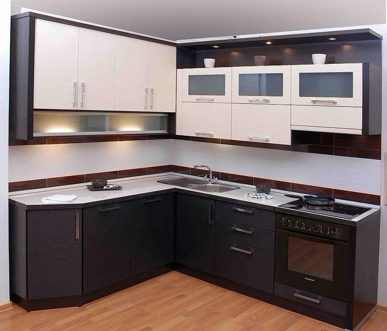 бело-черная угловая кухня на заказ