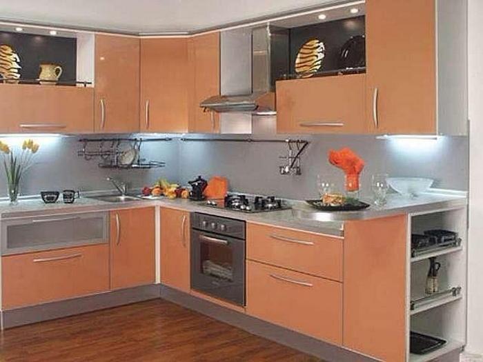 Угловая кухня пленочный мдф персиковая