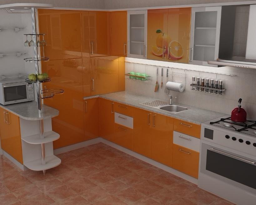 Кухни с оранжевыми пластиковыми фасадами фото