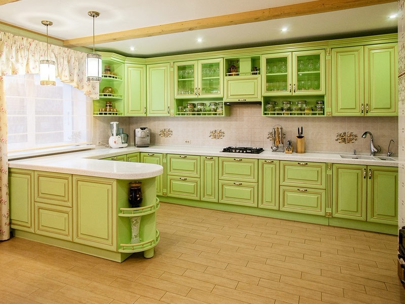 кухня их мдф зеленое золото