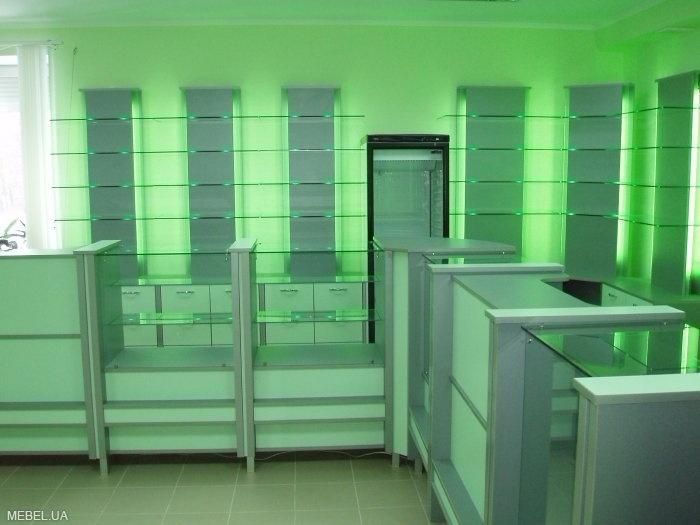зеленая мебель для аптек на заказ в Минске