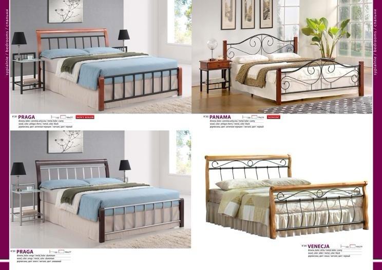 Кровать металлическая с деревянным декором