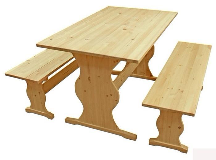 Стол и скамейки для сада материал клееный щит