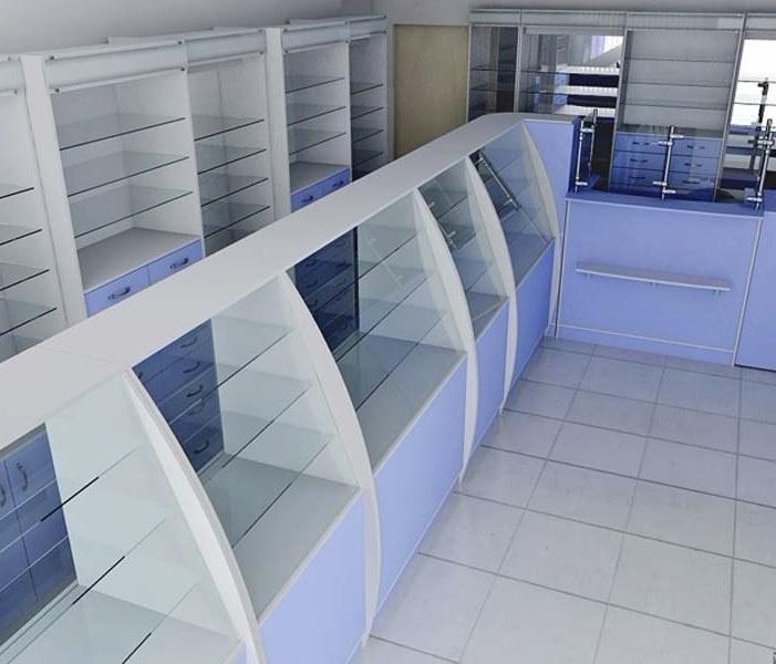 стеллажи для аптек бело-синие фото 28